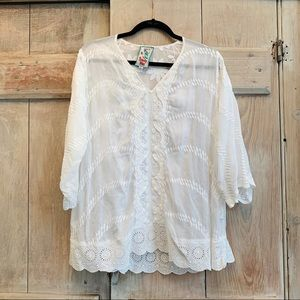 Johnny Was | White Floral Lace Blouse